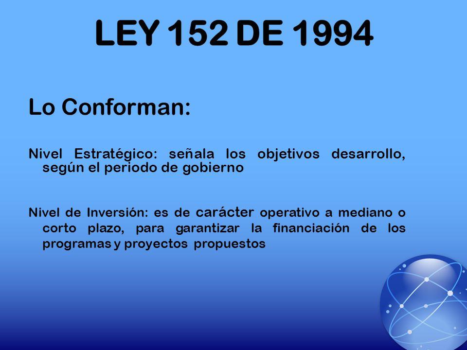 LEY 152 DE 1994 Lo Conforman: Nivel Estratégico: señala los objetivos desarrollo, según el periodo de gobierno.