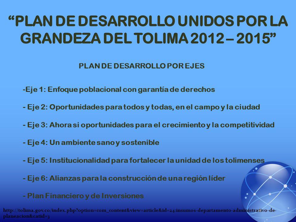 PLAN DE DESARROLLO UNIDOS POR LA GRANDEZA DEL TOLIMA 2012 – 2015