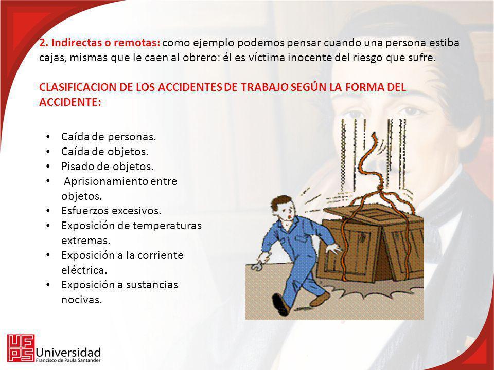 2. Indirectas o remotas: como ejemplo podemos pensar cuando una persona estiba cajas, mismas que le caen al obrero: él es víctima inocente del riesgo que sufre.