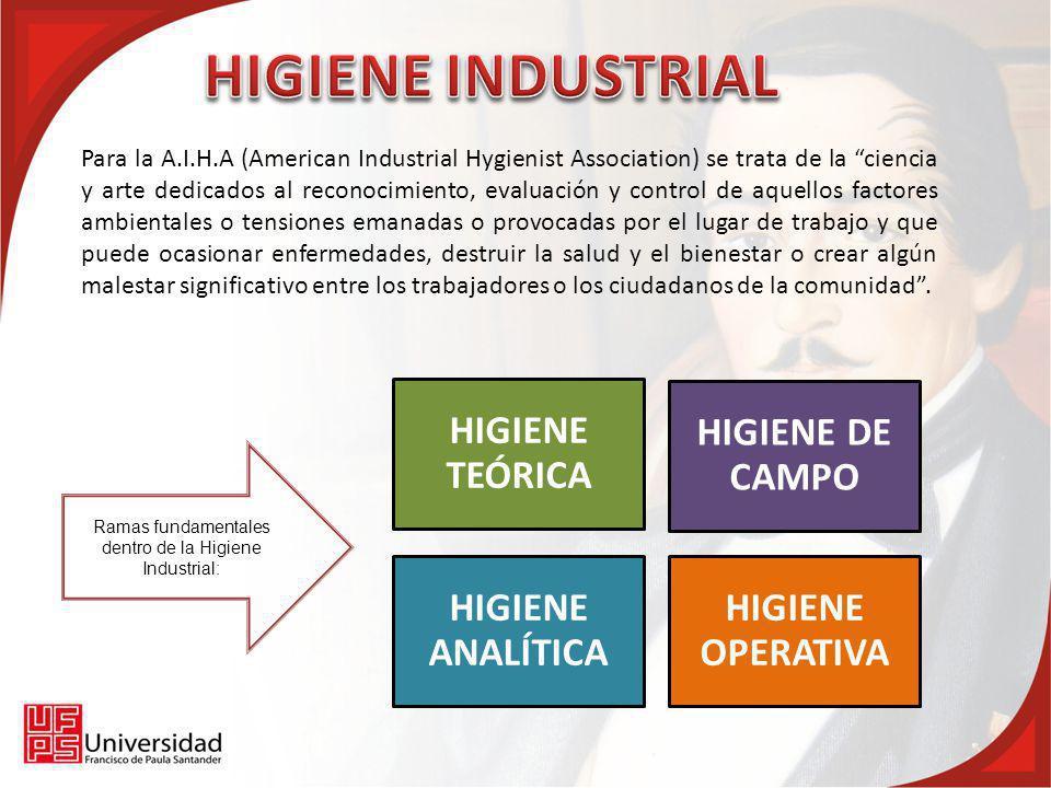 Ramas fundamentales dentro de la Higiene Industrial: