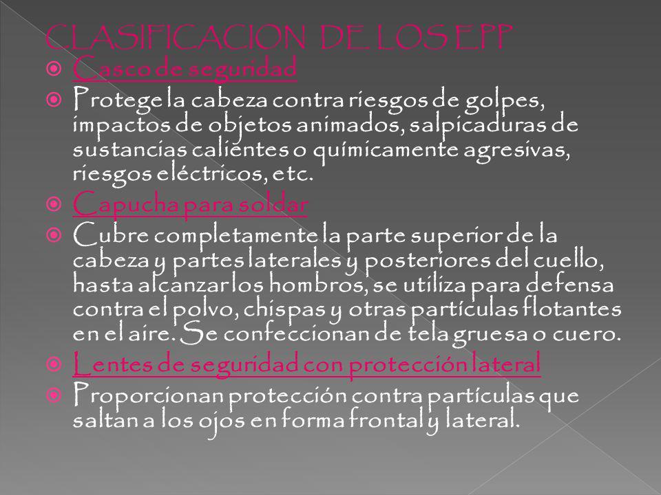 CLASIFICACION DE LOS EPP