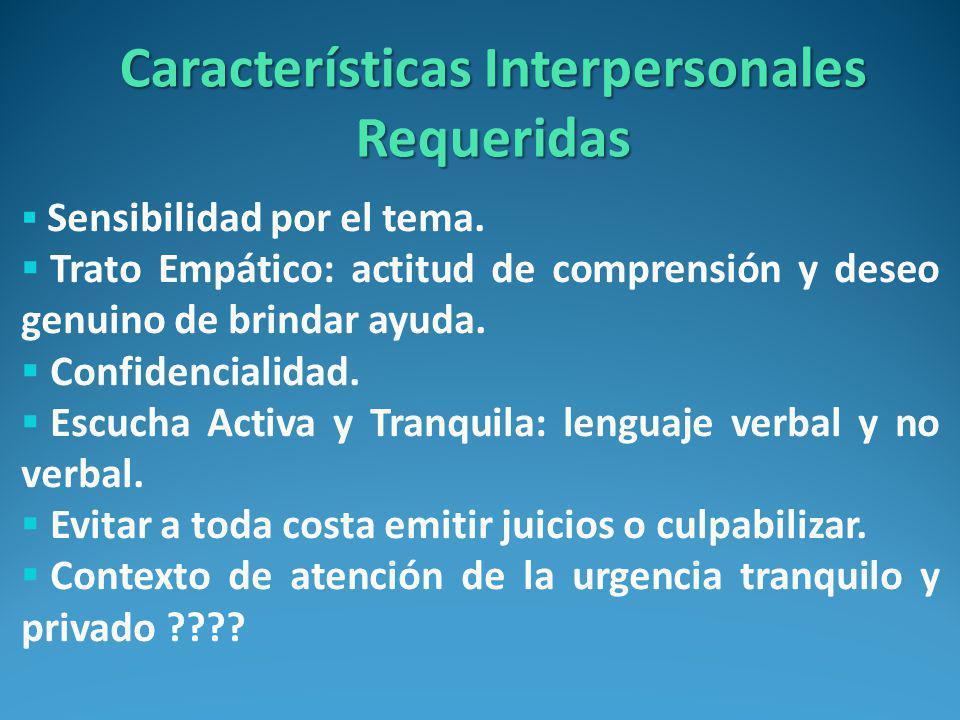 Características Interpersonales Requeridas
