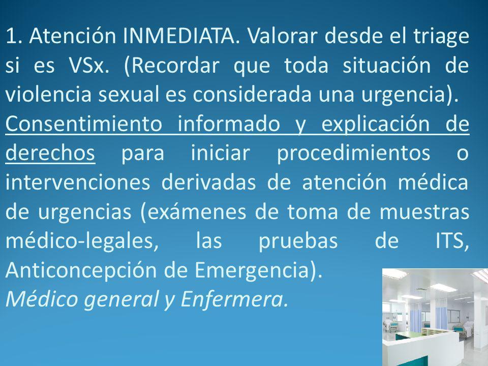 1. Atención INMEDIATA. Valorar desde el triage si es VSx