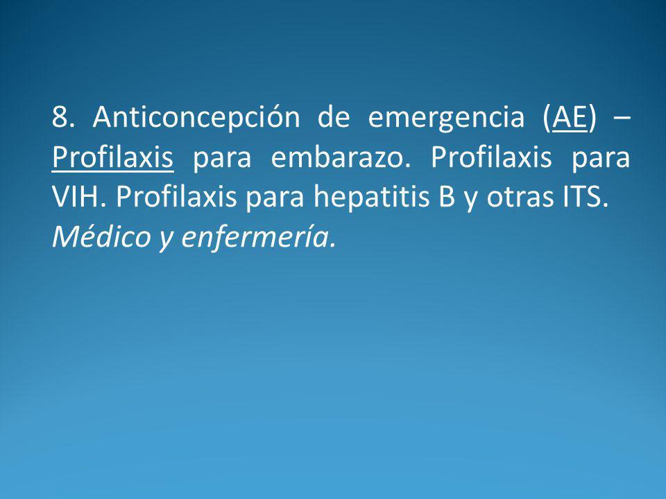 8. Anticoncepción de emergencia (AE) – Profilaxis para embarazo