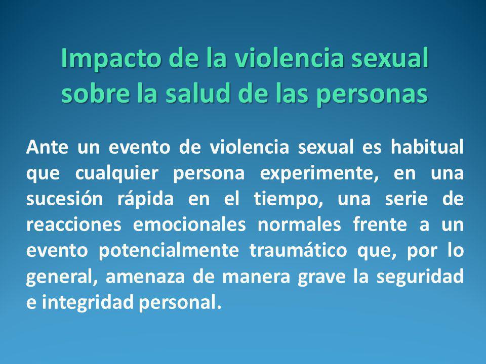 Impacto de la violencia sexual sobre la salud de las personas