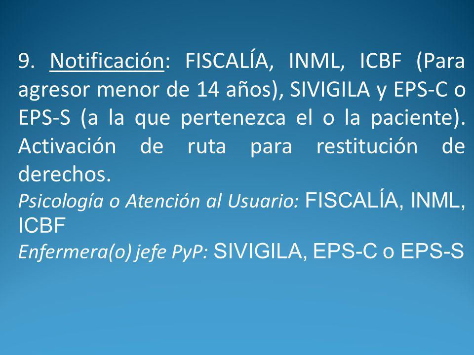 9. Notificación: FISCALÍA, INML, ICBF (Para agresor menor de 14 años), SIVIGILA y EPS-C o EPS-S (a la que pertenezca el o la paciente). Activación de ruta para restitución de derechos.