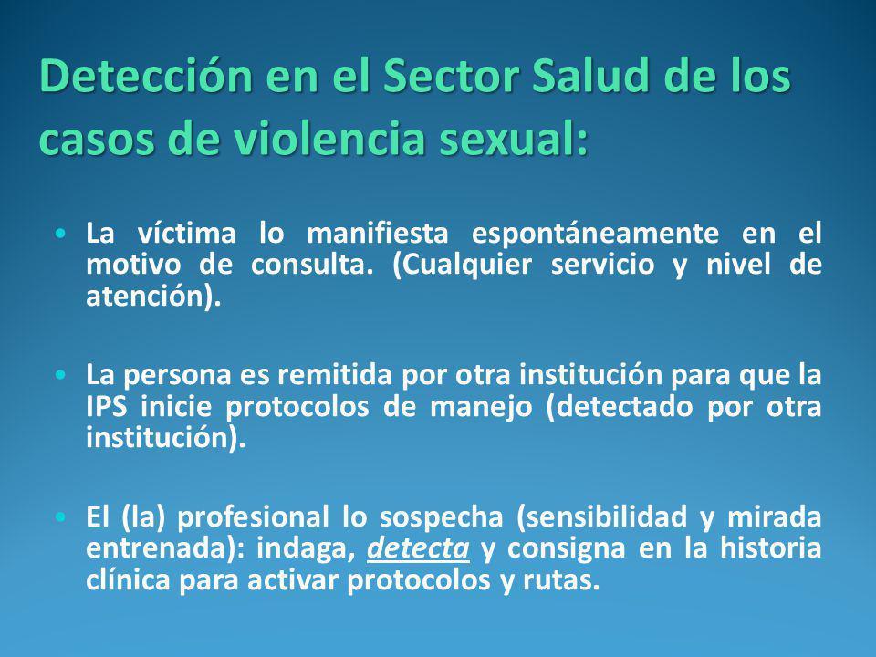 Detección en el Sector Salud de los casos de violencia sexual:
