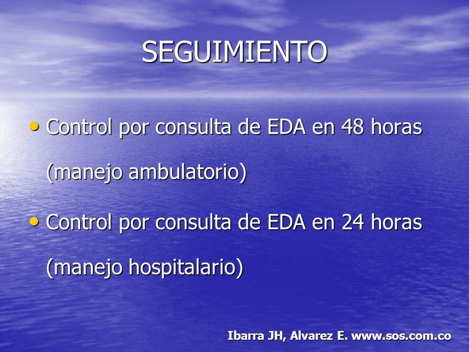 SEGUIMIENTO Control por consulta de EDA en 48 horas (manejo ambulatorio) Control por consulta de EDA en 24 horas (manejo hospitalario)