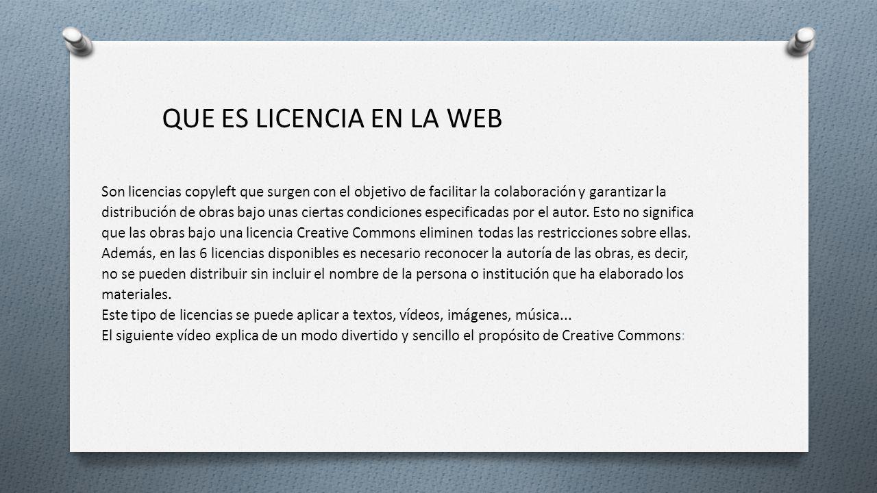 Que es licencia en la web