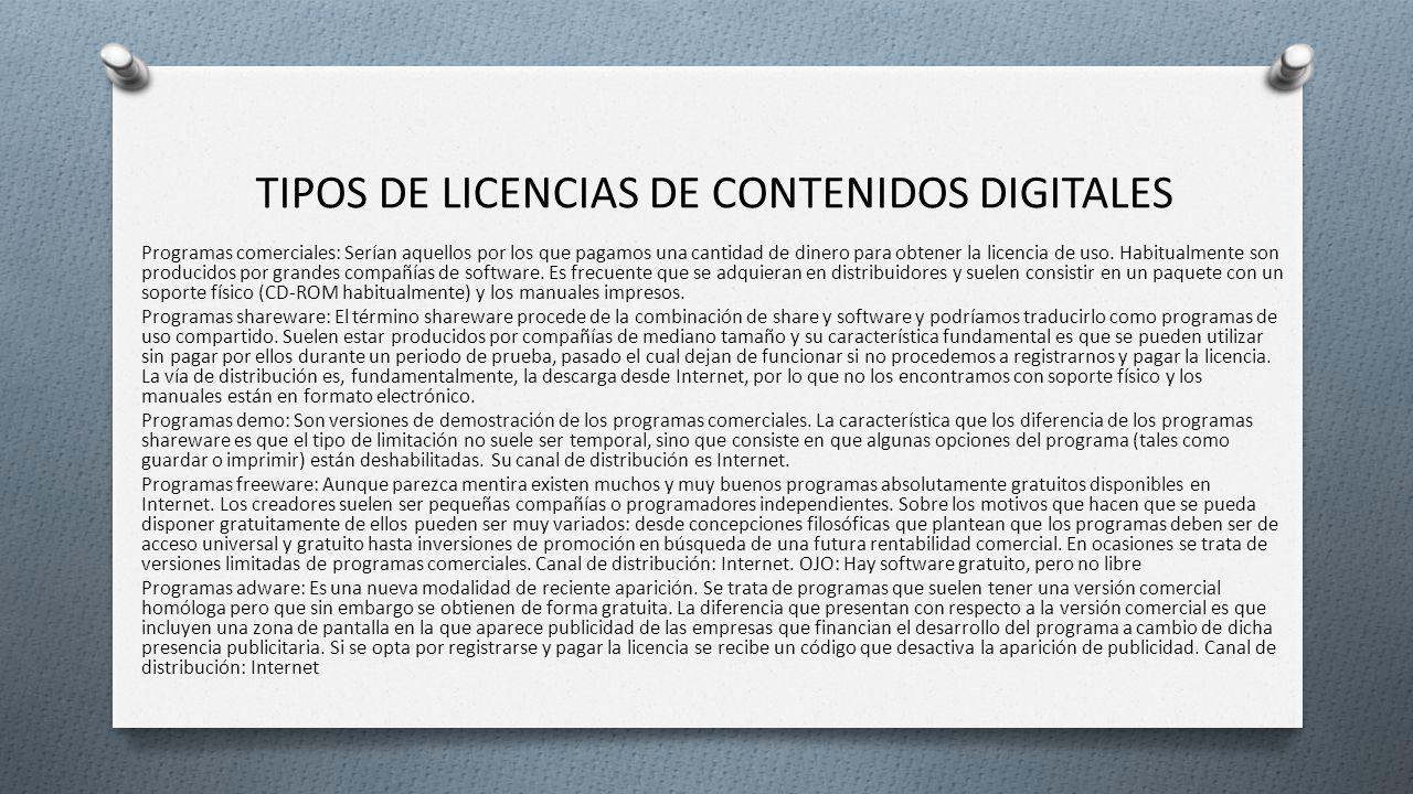 Tipos de licencias de contenidos digitales