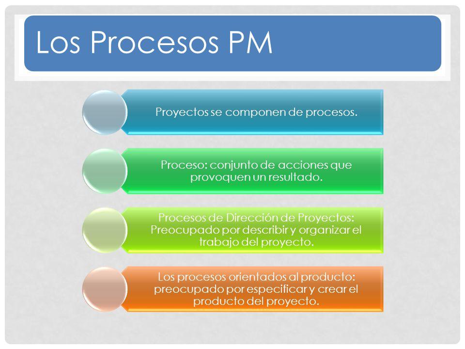 Los Procesos PM Proyectos se componen de procesos.