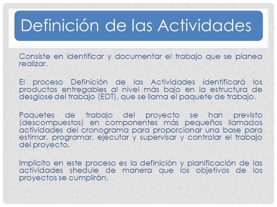 Definición de las Actividades