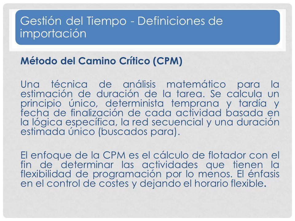 Gestión del Tiempo - Definiciones de importación
