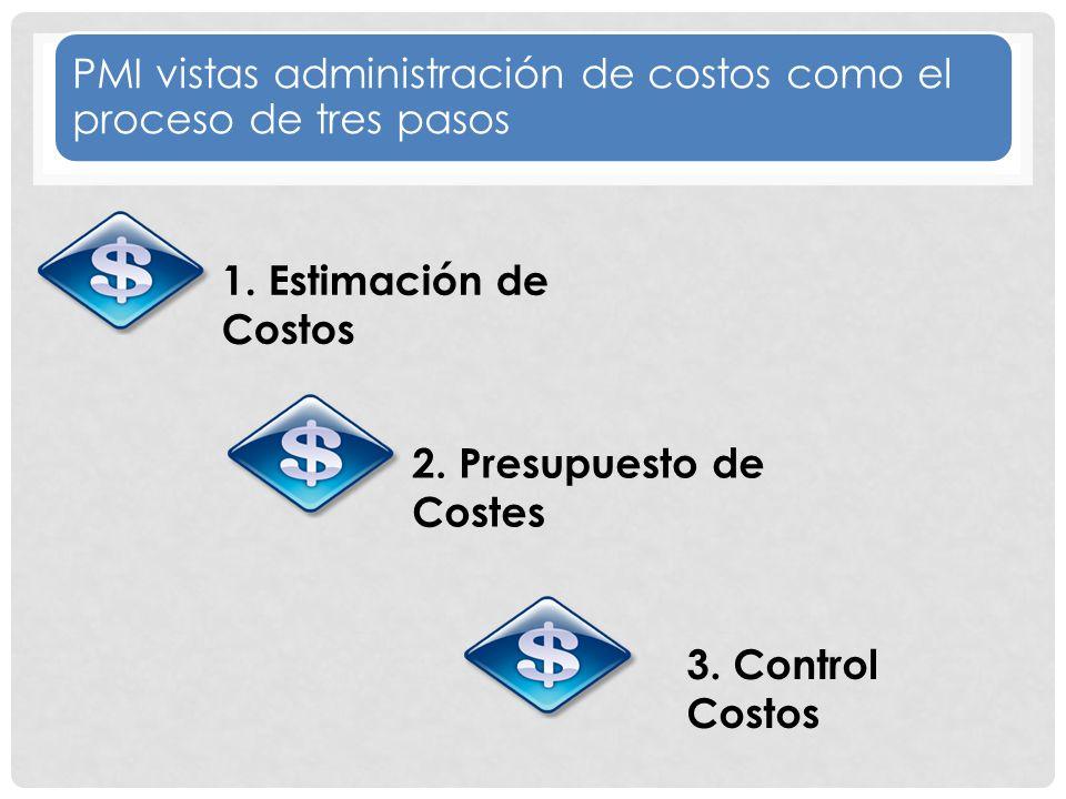 PMI vistas administración de costos como el proceso de tres pasos