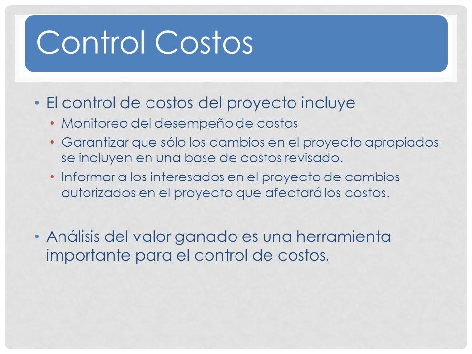 Control Costos El control de costos del proyecto incluye