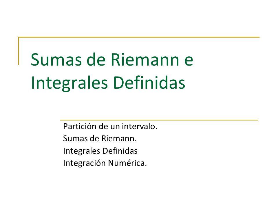 Sumas de Riemann e Integrales Definidas