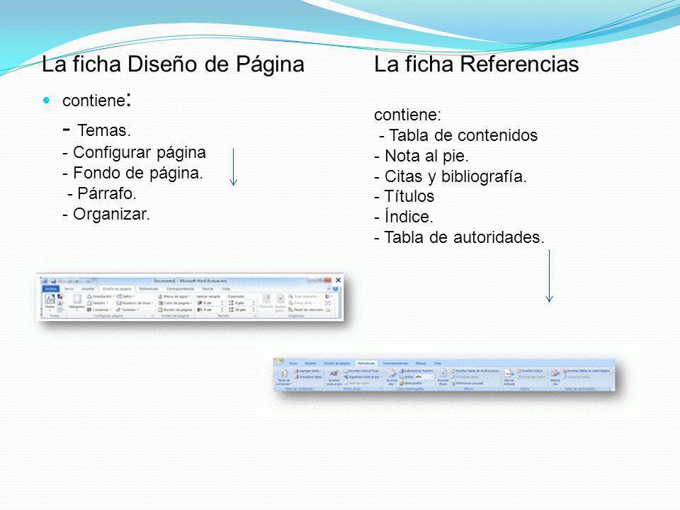 La ficha Diseño de Página La ficha Referencias