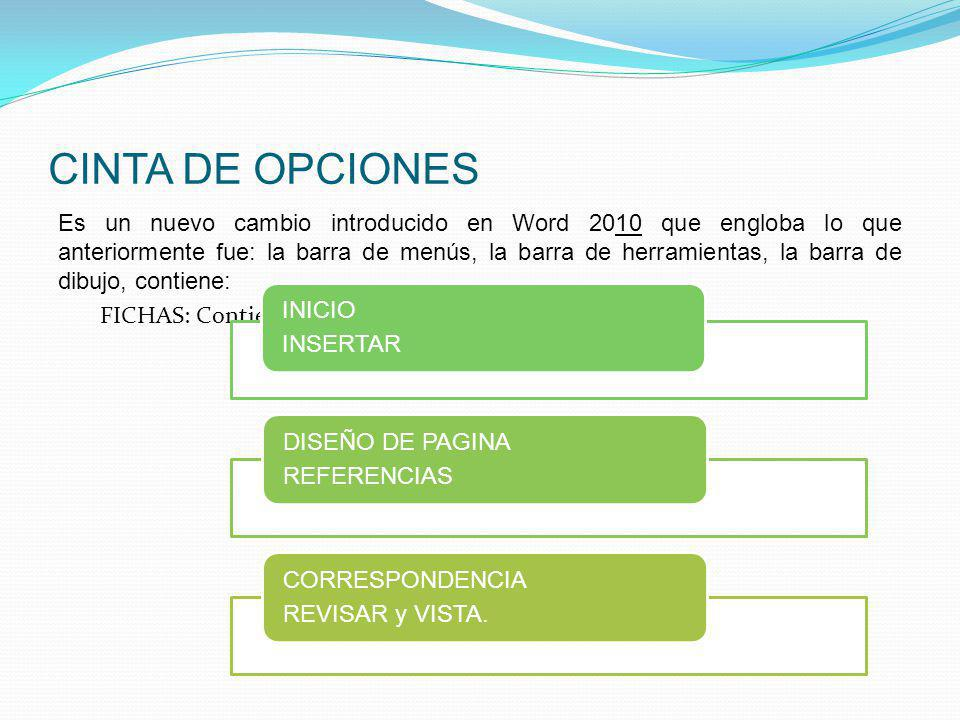 CINTA DE OPCIONES INICIO INSERTAR
