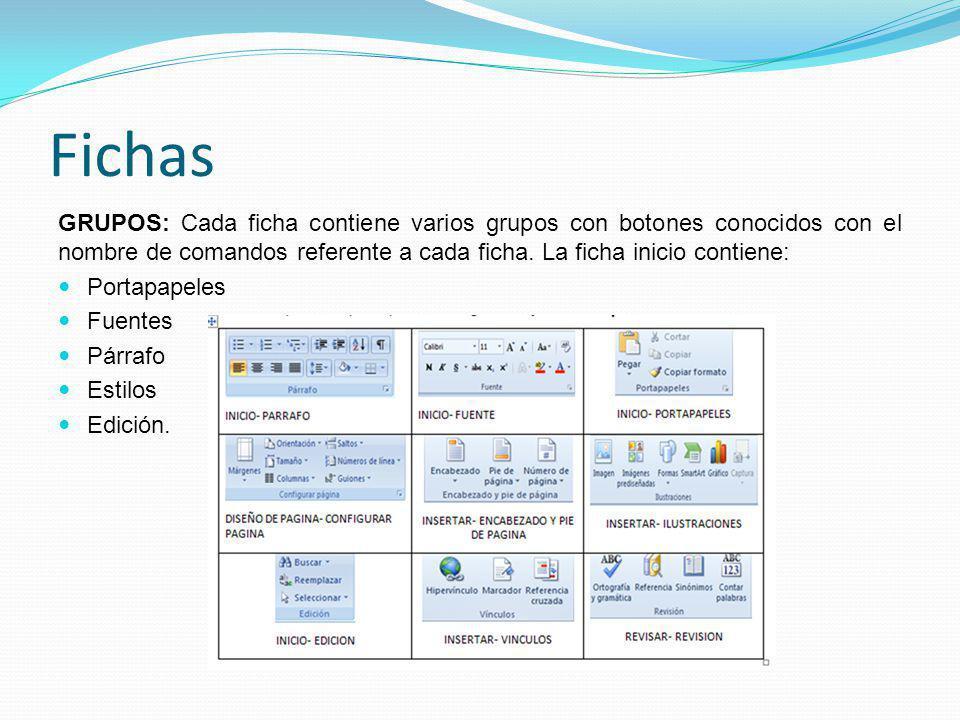 Fichas GRUPOS: Cada ficha contiene varios grupos con botones conocidos con el nombre de comandos referente a cada ficha. La ficha inicio contiene: