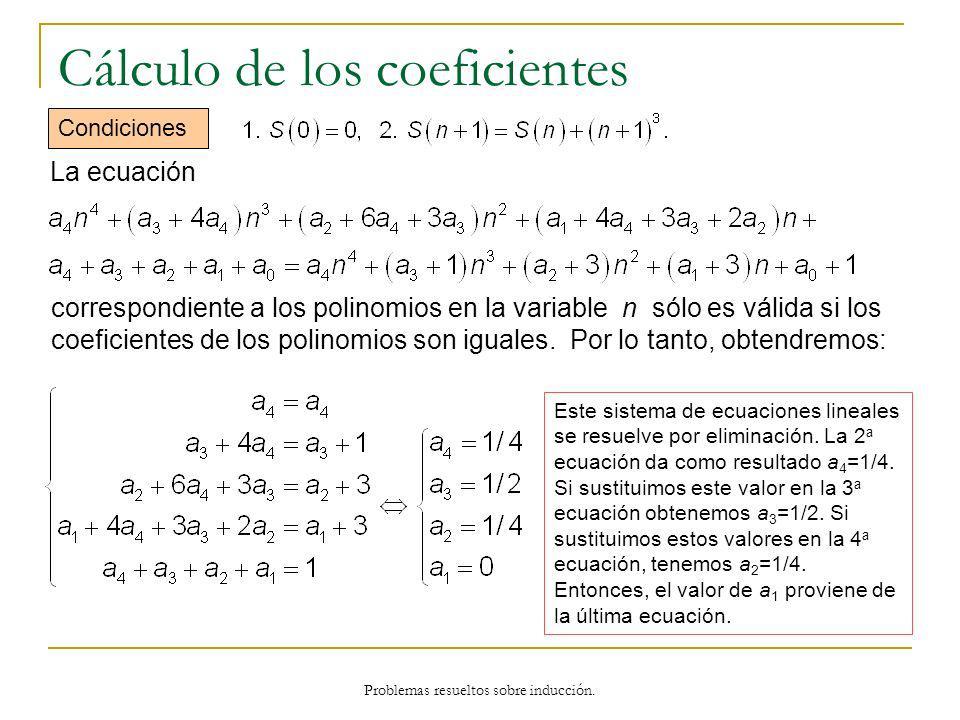 Cálculo de los coeficientes