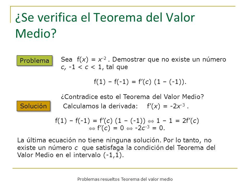 ¿Se verifica el Teorema del Valor Medio