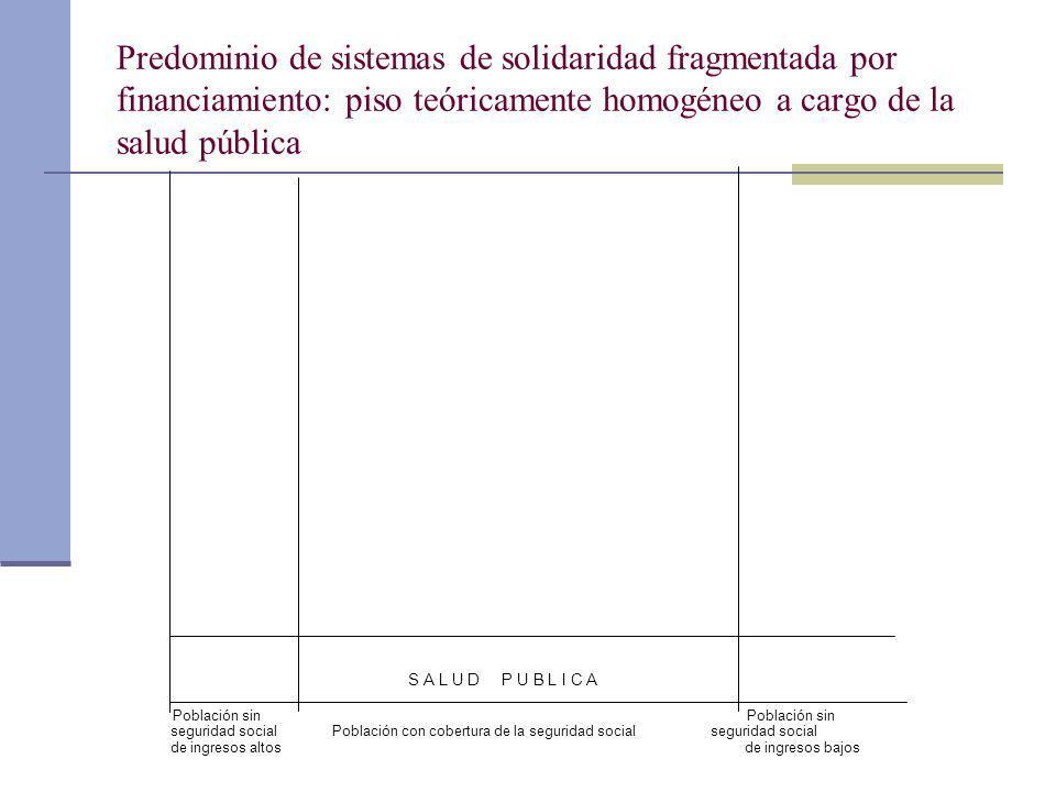 Predominio de sistemas de solidaridad fragmentada por financiamiento: piso teóricamente homogéneo a cargo de la salud pública