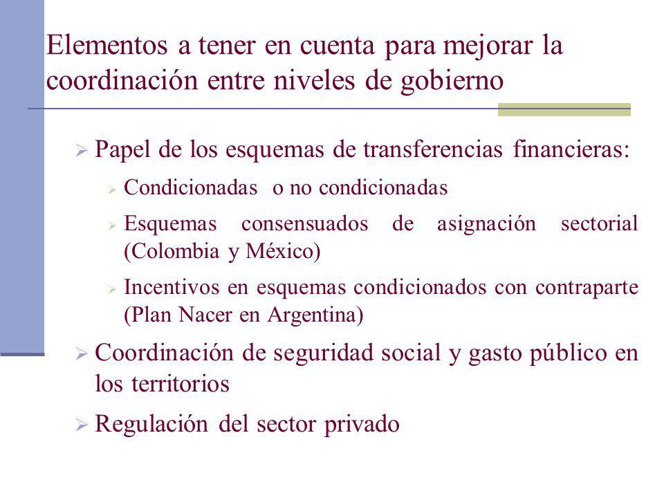 Elementos a tener en cuenta para mejorar la coordinación entre niveles de gobierno