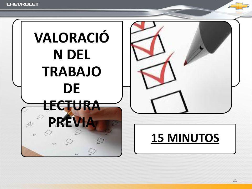 VALORACIÓN DEL TRABAJO DE LECTURA PREVIA