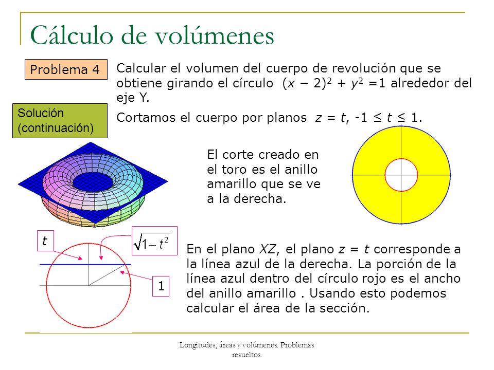 Longitudes, áreas y volúmenes. Problemas resueltos.