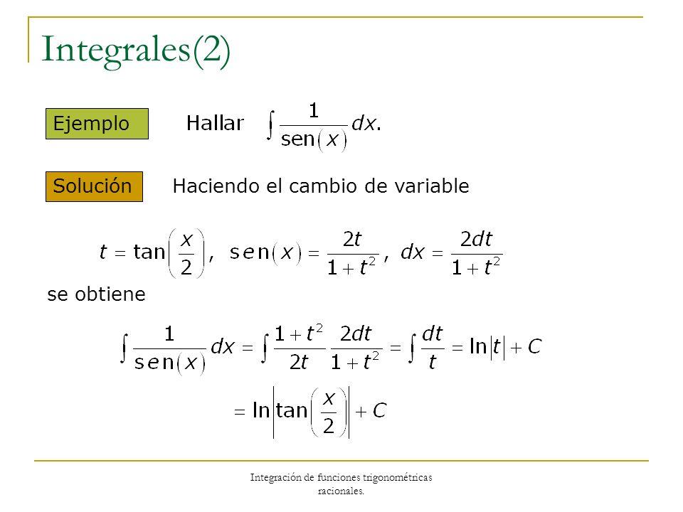 Integración de funciones trigonométricas racionales.