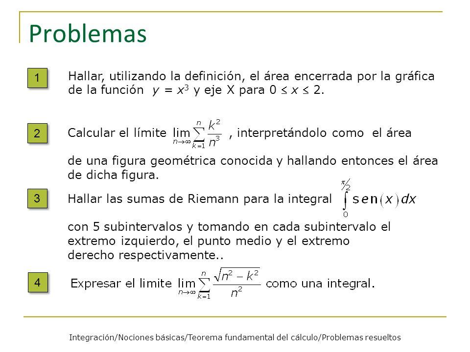 Problemas 1. Hallar, utilizando la definición, el área encerrada por la gráfica de la función y = x3 y eje X para 0  x  2.