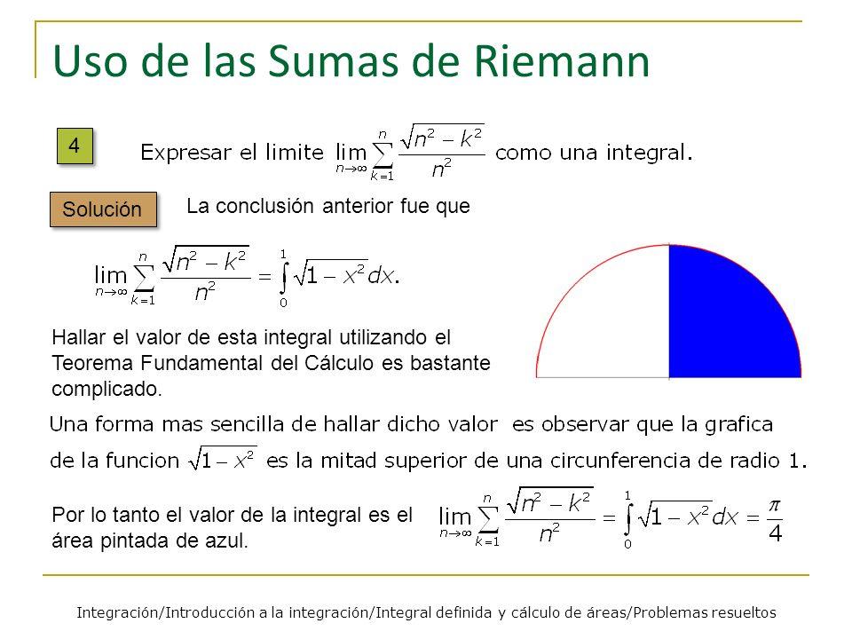Uso de las Sumas de Riemann