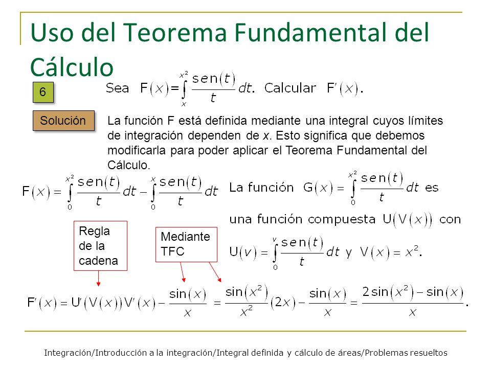 Uso del Teorema Fundamental del Cálculo