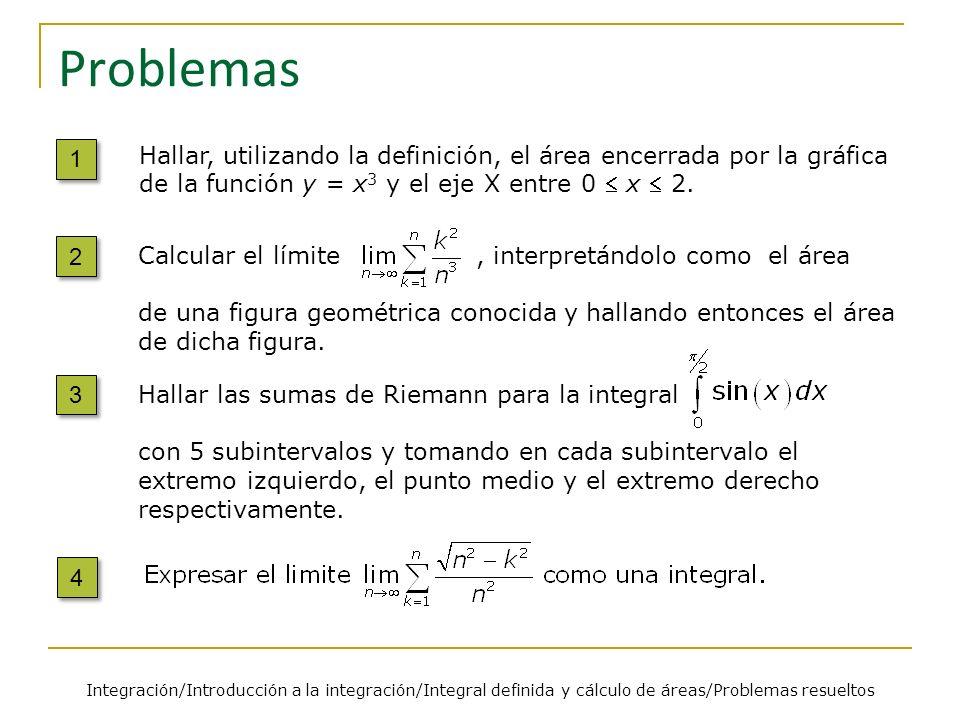 Problemas 1. Hallar, utilizando la definición, el área encerrada por la gráfica de la función y = x3 y el eje X entre 0  x  2.