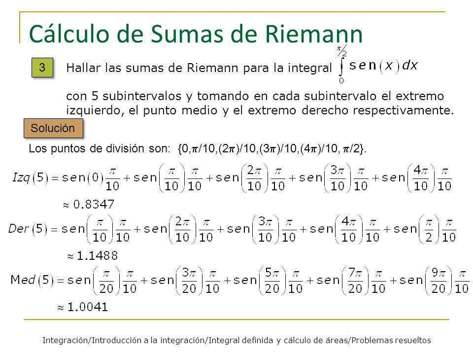 Cálculo de Sumas de Riemann