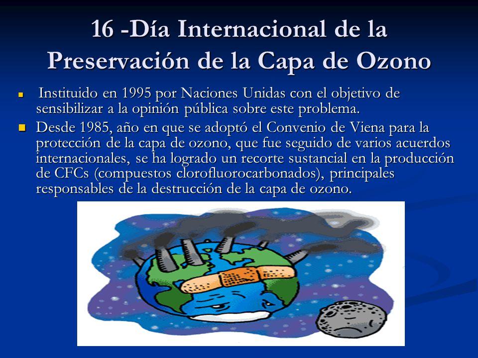 16 -Día Internacional de la Preservación de la Capa de Ozono