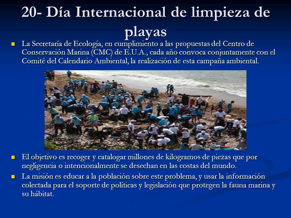 20- Día Internacional de limpieza de playas