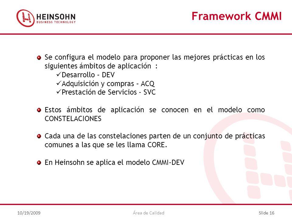 Framework CMMI Se configura el modelo para proponer las mejores prácticas en los siguientes ámbitos de aplicación :