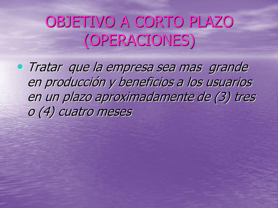 OBJETIVO A CORTO PLAZO (OPERACIONES)