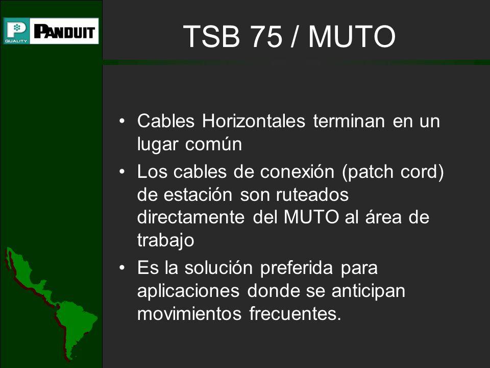 TSB 75 / MUTO Cables Horizontales terminan en un lugar común