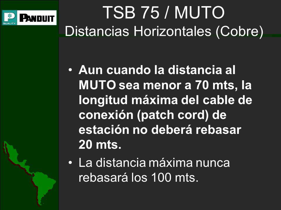 TSB 75 / MUTO Distancias Horizontales (Cobre)