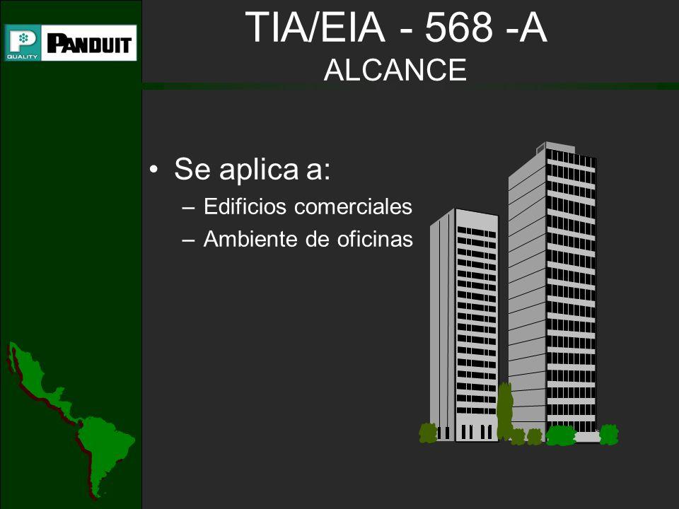 TIA/EIA - 568 -A ALCANCE Se aplica a: Edificios comerciales