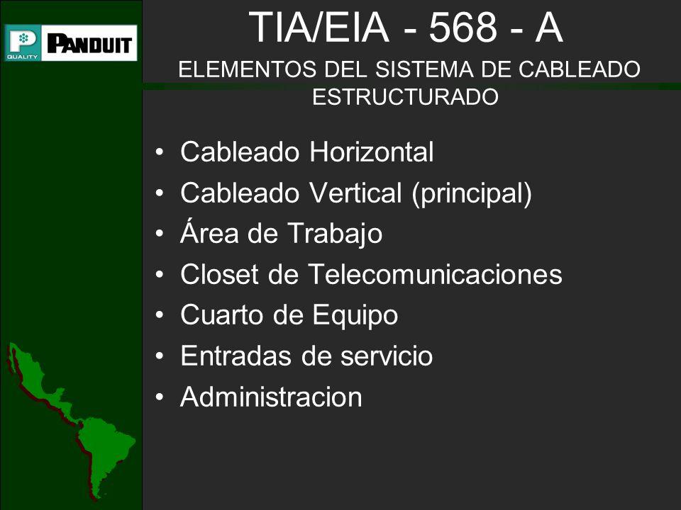 TIA/EIA - 568 - A ELEMENTOS DEL SISTEMA DE CABLEADO ESTRUCTURADO