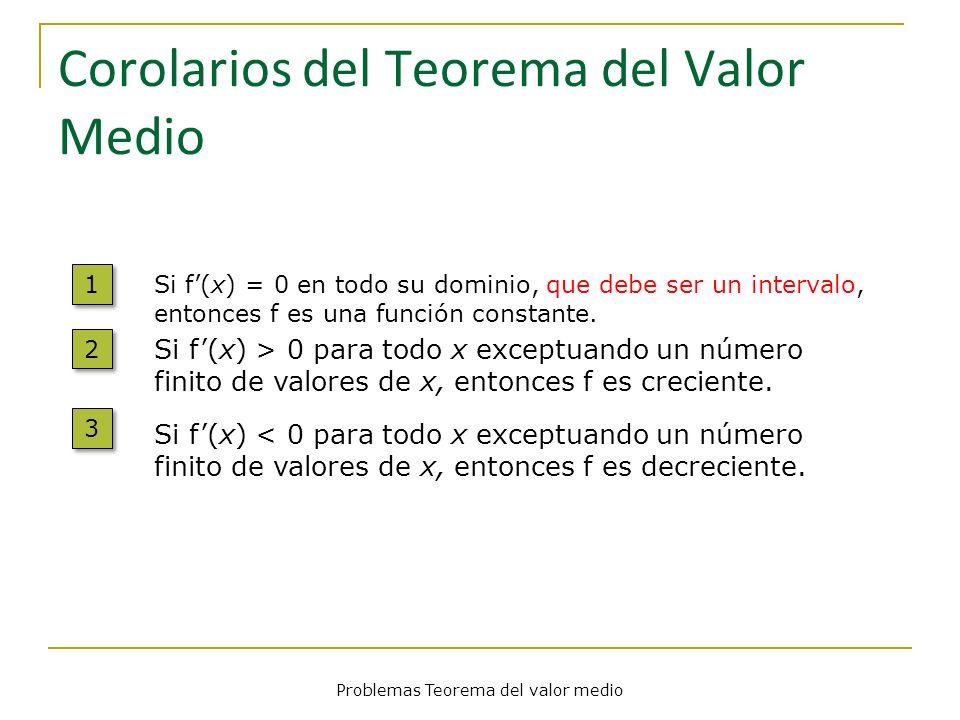 Corolarios del Teorema del Valor Medio