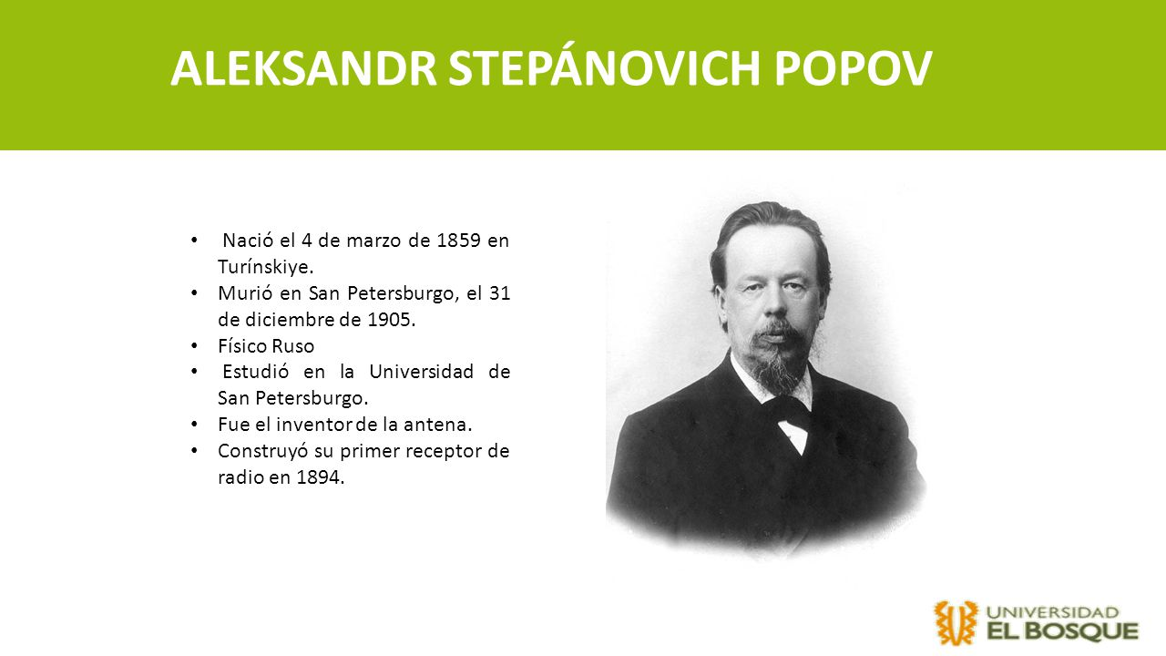 ALEKSANDR STEPÁNOVICH POPOV