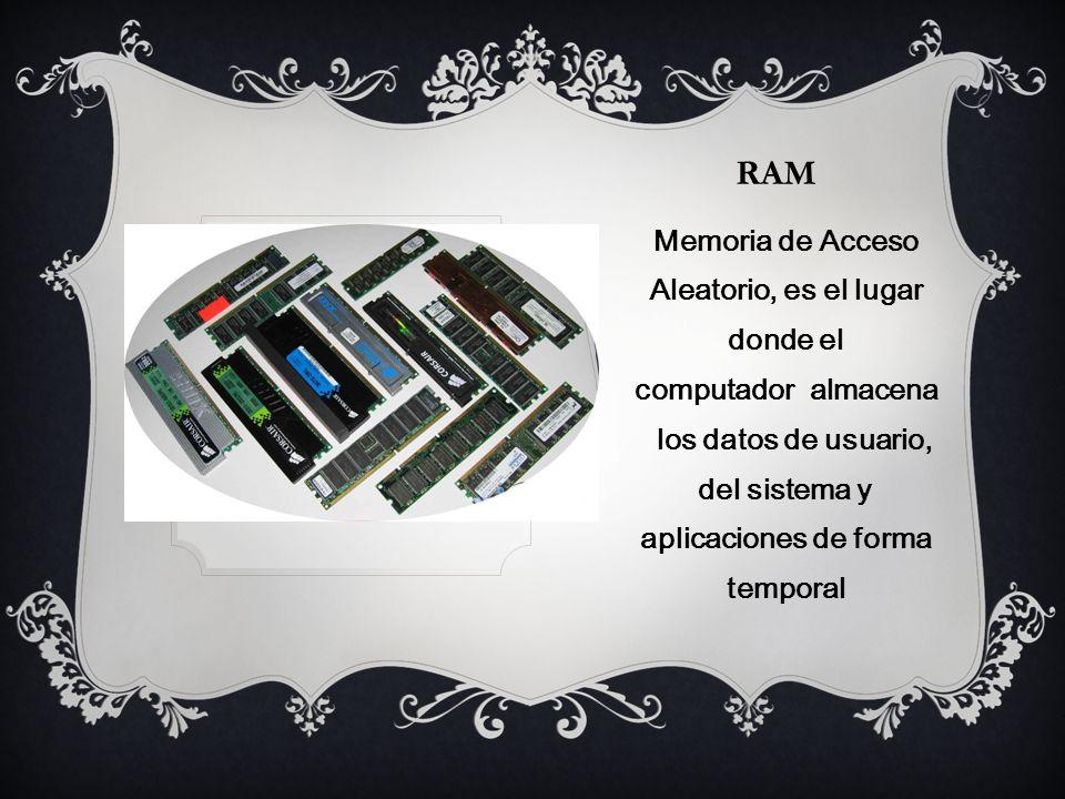 ram Memoria de Acceso Aleatorio, es el lugar donde el computador almacena los datos de usuario, del sistema y aplicaciones de forma temporal.