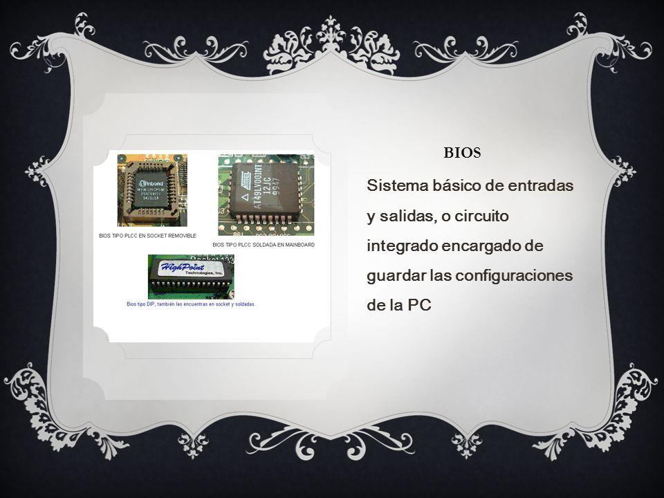 BIOS Sistema básico de entradas y salidas, o circuito integrado encargado de guardar las configuraciones de la PC.