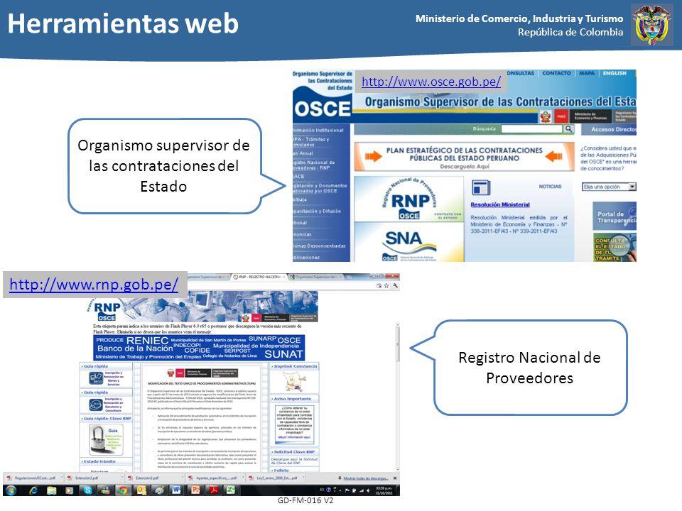 Herramientas web Organismo supervisor de las contrataciones del Estado