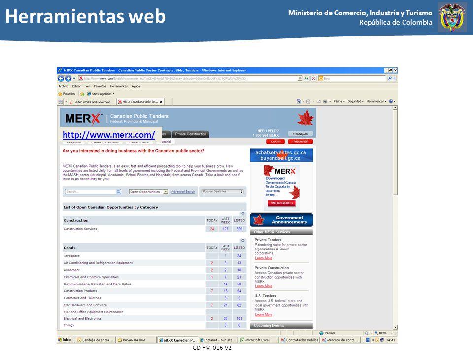Herramientas web http://www.merx.com/ GD-FM-016 V2