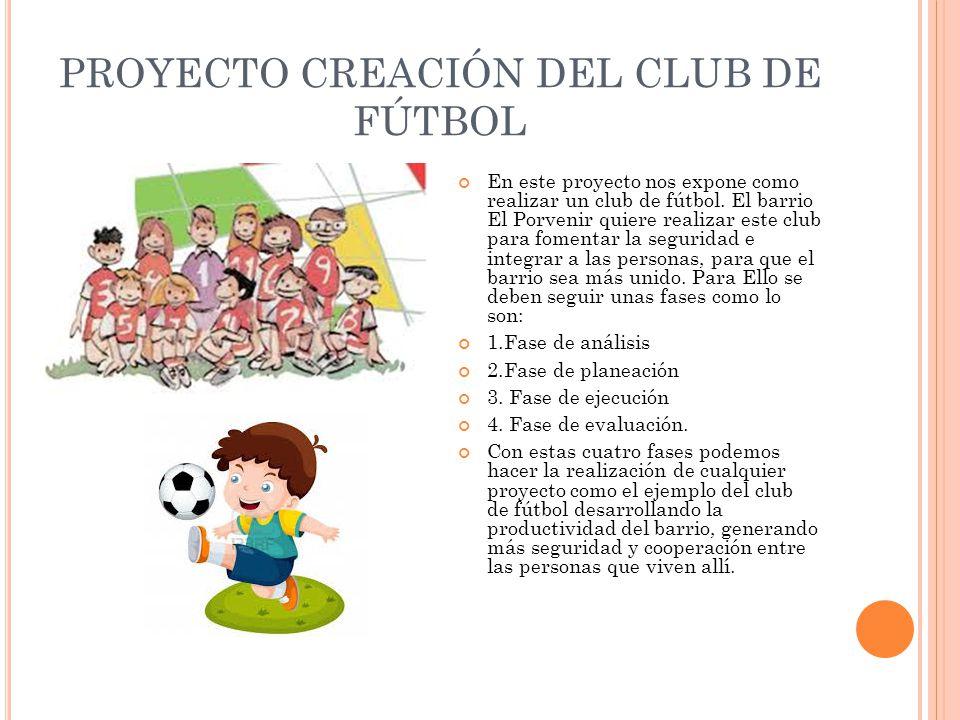 PROYECTO CREACIÓN DEL CLUB DE FÚTBOL
